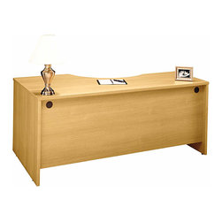"Bush Business - Right Corner Desk Module in Light Oak - Serie - The attractive and versatile Light Oak Series C Right Corner Desk Module mounts to desk shells as right return and accommodates one 3-drawer or 2-drawer pedestal.  The 71 inch wide desk module features desktop & modesty panel grommets for wire access. * Mounts to desk shells as right return. Desktop & modesty panel grommets for wire access. Accommodates one 3-Drawer or 2-Drawer Pedestal. Accepts Keyboard Shelf in corner position. Sturdy 1""-thick top surface. Durable PVC edge banding protects desk from bumps and collisions. Durable melamine surface resists scratches and stains. 70.984 in. W x 35.472 in. D x 29.842 in. H"