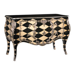 French Heritage - Montrevel Commode/Chest, White and Black Diamonds Painted Finish - You love a checkered past. Traditional lines primly adorned with delightful details are lovely, but it takes the addition of a dangerous element to add intrigue. The harlequin-patterned Montrevel commode defies all the rules with humor, confidence and style.