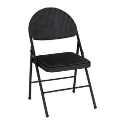 Cosco Office - Comfort Folding Chair - Set of 4 - Set of 4. Soft padded fabric seat and back. Folds up tight and compact for easy storage. Durable steel frame with powder coated finish. Use of two cross braces and tube in tube reinforced frame. Warranty: One year. Made from steel and fabric. Black finish. 20.38 in. W x 19.5 in. D x 34.63 in. H (11.8 lbs.)Make a big impression with our deluxe oversized chairs. 38% larger overall with a 13% larger seat , the XL Comfort Chair provides just what its name entails!. More Comfortable than the standard metal folding chair.