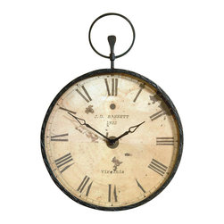Bassett Mirror - Pocket Watch-Style Wall Clock in Antique Bron - Round clock. Antique design. Decorative piece. 24 in. L x 34 in. H (17 lbs.)