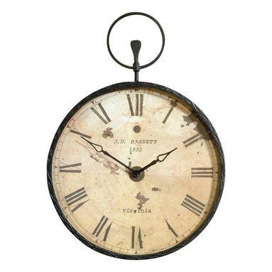 Bassett Mirror - Pocket Watch-Style Wall Clock in Antique Bron - Round clock. Antique design. Decorative piece. 24 in. L x 34 in. H (17 lbs.)
