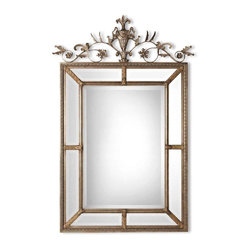 Uttermost - Le Vau Vertical Silver Mirror - The beauty of mirror framing stands out in this masterpiece of wall decor. The decorative cartouche running along the top of the frame brings luxe to an elevated level of sophistication.