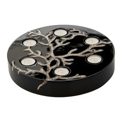 Tea Light Holder in Lacquerware & Eggshell, Black