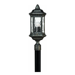Hinkley Lighting - 1721BG Regal Outdoor Post Lamp, Black Granite, Water Seedy Glass - Traditional Outdoor Post Lamp in Black Granite with Water Seedy glass from the Regal Collection by Hinkley Lighting.
