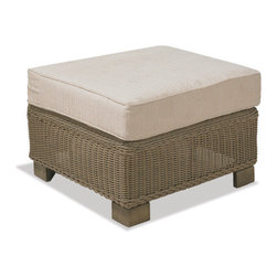 Thos. Baker - Sanibel Wicker Cushion Outdoor Ottoman, Terracotta, Ndura All-Weather Wicker Ove - Crafted using fade-resistant nDuraA all-weather wicker hand-woven over powder-coated aluminum frames, each piece in the sanibel collection boasts a transitional style that compliments both contemporary and traditional outdoor spaces.Plush cushion sets are covered in premium Sunbrella outdoor fabrics made-to-order in your choice of 24 solid and textured colors or 16 premium woven patterns.Signature or premium cushion sales are final and ship in 2-3 weeks.