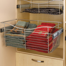 "Wire Side-Mount Pull-Out Basket (24""W x 14""D x 11""H) - Chrome - Rev-A-Shelf's wire side mount baskets are great for your closets. The sleek patent-pending design installs easily in 32 mm applications."