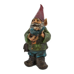 Carved Wood Look Garden Gnome with Bluebird - This friendly gnome is hiking through your garden with his little bluebird companion, enjoying the great outdoors. Made of cold cast resin and hand painted, this piece is finished to look as though it has been carved from wood. It measures 13 1/2 inches tall, 5 3/4 inches wide, and 6 inches deep. He`s a great housewarming gift for a friend, and is an adorable accent to porches, patios, gardens, and flower beds.