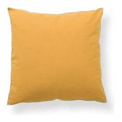 Silver Nest - Simple Sunshine Down Pillow- 22x22 - 100% Cotton Canvas Rayon Braid Piping in Natural. Set of two pillow covers with hidden zippers. Feather inserts included. Inserts are 95/5. Priced individually, must be sold as set of 2.