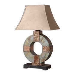 Uttermost - Slate Table Lamp - This Indoor/outdoor Lamp Is Made Of Real Hand Carved Slate With Hammered Copper Details. Due To The Natural Material Being Used Each Piece Will Vary. The Rectangle Bell Shade Has A Brushed Sueded, Weather Resistant Textile. Number Of Lights: 1, Shade: Rectangle Bell Shade, Shade Size: Height: 11.125, Top: 6w X 9d, Bottom: 12.125w X 17d, Voltage: 110, Wattage: 100w, Bulbs Included: No