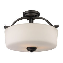 Z-Lite - Z-Lite 220SF Arlington 3 Light Semi-Flush Mount Ceiling Fixture - Z-Lite 220SF Arlington 3 Light Semi-Flush Mount Ceiling FixtureA fixture from Z-Lite's Arlington Collection, featuring a iron frame, glass shade and modern lines highlight this three light semi-flush mount from the Arlington Collection. With a height of 11.25 inches and a luxurious oil rubbed bronze finish, this semi-flush mount adds a contemporary feel to any room.Z-Lite 220SF Features: