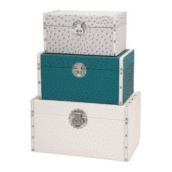 "Imax - Gray White Teal Ostrich Pattern Trunks - Set of 3 - *Dimensions: 6-7-8.25""h x 6.5-8-9.75""w x 11.5-13.25-15.25"""