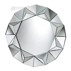 Sterling Industries - Sterling Industries Schaefer Round Mirror - The rounded shape of this Sterling Industries mirror is complimented by a uniquely designed frame, which features additional mirror panels for a dazzling appearance. This contemporary mirror comes in an octagonal shape with a burst-like mirrored frame. The mirror panels feature beveling to complete the look.