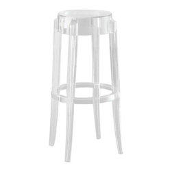 Kartell - Charles Ghost Stool by Kartell - The Kartell Charles Ghost Stool features the rounded, slightly upturned legs characteristic of the classic high stools of the 1800s. Constructed from a single block of polycarbonate, Charles Ghost is indestructible and suitable for both indoor and outdoor use. Available in three heights and a variety of colors. Designed by Phillipe Starck. Founded in 1949 by Giulio and Anna Castelli, Kartell has become the world leader—and innovator—in the realm of molded plastic furniture. Headquartered in Italy, Kartell works with designers worldwide to create their distinctive line of modern furniture, lighting and accessories. Dedication to discovering and employing new technologies and manufacturing methods results in a growing line of durable, stylish and cutting edge products.