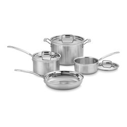 Cuisinart - Cuisinart Multicald Triple-ply 7-piece Cooking Set - This sleek 7-piece Multicald cooking set from Cuisinart features gleaming stainless steel construction for each piece. The essential kitchen collection arrives with two sauce pans,a stockpot,a skillet and three coordinating lids.
