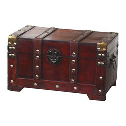 Antique Style Wooden Small Trunk - Can be used for storage or decoration. Color: Antique Cherry Decorative wood trunk This decorative treasure box is gonna fill any empty place in your home or heart.