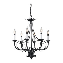 Feiss - Feiss F2533/6BK Peyton 6 Light Black Chandelier - Finish: Black