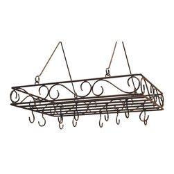 J&J Wire - Pot and Pan Rack w Hooks - Pot and pans not included. Includes twelve welded hooks. Heavy construction. Welded fabrication. Elegant scrolled design. Made from sturdy wrought iron. Custom bronze powder coated finish. Made in USA. No assembly required. Hanging rods: 13 in. H. 28 in. W x 19 in. D x 7 in. H (15 lbs.)This elegant scrolled pot and pan rack will complement any kitchen. Twelve intricately spaced welded hooks will give you multiple options when displaying. Sturdy wrought iron cured under heat to produce a custom bronze powder-coat finish.