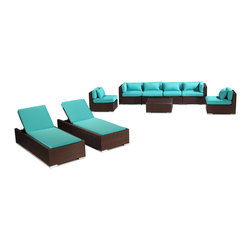 "Kardiel - Modify-It Outdoor Patio Furniture Sofa Chaise Lounge Maui 9-pc Wicker, Turquoise - Dressed for the evening or sunbathing mid-day, the spectacular Maui 9-piece patio set lounges as well as it entertains. The centerpiece is the modern Grande' length 4 seat sofa. Effortlessly accommodate additional guests with the matching set of armless side chairs. Introduce the ritual of relaxed lounging to your day with a set of 2 personal chaise sun lounge adjustable beds. A tempered glass top coffee table completes the collection. The design origins are Clean European. The elements of comfort are inspired by the relaxed style of the Hawaiian Islands. The Aloha series comes in many configurations, but all feature a minimalist frame and thick, ample modern cube cushions. The back cushions are consistent in shape, not tapered in to create the lean back angle. Rather the frame itself is specifically ""lean tapered"" allowing for a full cushion, thus a more comfortable lounging experience. The cushion stitch style utilizes smooth and clean hand tailoring, without extruding edge piping. The generously proportioned frame is hand-woven of colorfast, PE Resin wicker. The fabric is Season-Smart 100% Outdoor Polyester and resists mildew, fading and staining. The ability to modify configurations may tempt you to move the pieces around... a lot. No worries, Modify-It is manufactured with a strong but lightweight, rust proof Aluminum frame for easy handling."