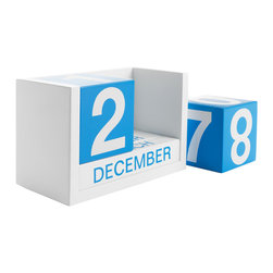 Block Calendar in Blue - Get up close and personal with the passing days. This block calendar includes a block for each month and day. Simply flip each block accordingly and never forget the day's date again.