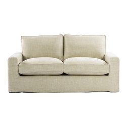 "Casual 70"" Linen Upholstered Sofa - Casual style sofa with new age eco-style beige linen. Casual skirted slipcover. Eight-way hand-tied spring suspension and coordinating back cushions are all 50% feather and down + 50% polyfiber wrapped around a 4-1/2"" foam core, hardwood frame. Hardwood ash legs with Antique E272 finish."
