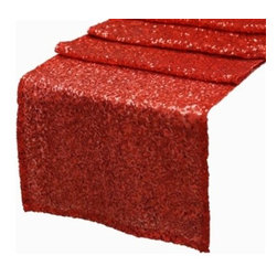 Chambury Casa - Sequined Table Runner, Red - Celebrate your special day with your reception accented with these beautiful sequined table runners.