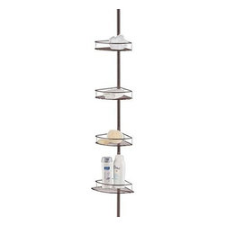 Taymor - Shower Tension Pole, Oil Rubbed Bronze - Great use of space in any shower! The Shower Tension Pole includes four baskets for ideal storage for all of your bath and shower items.