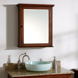 Weston Collection Medicine Cabinet - Cherry - Ample storage and beautiful finish make the Weston Cabinet the perfect bathroom addition. This mirrored cabinet boasts beveled glass and an Antique Brass knob.