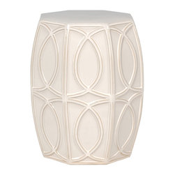 Kathy Kuo Home - Modern Coastal Beach Glossy White Treillage Garden Seat Stool - Traditionally used in China as tea tables- these garden stools make a perfect addition to your living space as side tables, or clustered together to be used as a coffee table.  Glazes are triple fired for added luster and shine.  With a hand made product, glaze variations of up to 10% is to be expected.