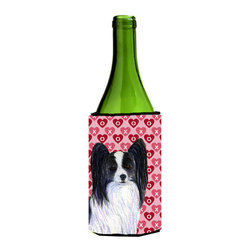 Caroline's Treasures - Papillon Hearts Love and Valentine's Day Portrait Wine Bottle Koozie Hugger - Papillon Hearts Love and Valentine's Day Portrait Wine Bottle Koozie Hugger SS4505LITERK Fits 750 ml. wine or other beverage bottles. Fits 24 oz. cans or pint bottles. Great collapsible koozie for large cans of beer, Energy Drinks or large Iced Tea beverages. Great to keep track of your beverage and add a bit of flair to a gathering. Wash the hugger in your washing machine. Design will not come off.