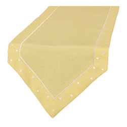 Xia Home Fashions - Polka Dot Embroidered Easy Care Table Runner, 15In By 72In, Yellow - With embroidered polka dots along the border and available in fun colors, these linens add an cute and whimsical element to any setting. Great to mix and match or for special holiday events!