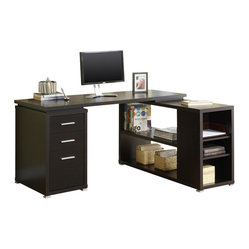 Monarch Specialties L-Shaped Computer Desk in Cappuccino