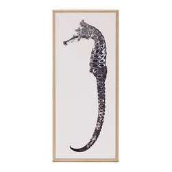 Kathy Kuo Home - Grande Seahorse Coastal Beach Left Silver Blue Leaf Wall Art - Framed - A horse of a different color. The spare lines of this silkscreened artwork capture all the delicate infrastructure of the elusive seahorse. Perfect anywhere, but especially fabulous in a city apartment or beachfront retreat.