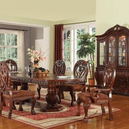 "Acme - 7-Piece Quinlan Cherry Finish Wood Double Pedestal Formal Dining Room Set - 7-Piece Quinlan cherry finish wood double pedestal formal dining room set with fabric upholstered chair seats and decorative carved backs. This set includes the Table , 2 - arm chairs and 4 - side chairs. Additional chairs and Hutch and buffet also available separately at additional cost. Table measures 46"" W x 76"" L (112"" L with 2 - 18"" Leaves included). Arm chairs measure 45"" H at the back , Side chairs measure 45"" H to the back. Some assembly required."