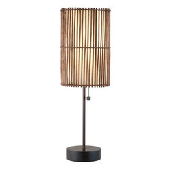 Adesso - Adesso 4024-26 Maui Table Lamp - The Adesso Maui Table Lamp has an antique bronze finish with a brown bamboo stick shade that is lined with fabric-like white rice paper. This lamp has a wooden stick base with a metal stick pole. It has a matching round wood finial with wood accented on/off pull chain.  About Adesso  Adesso was established in 1994, with the vision and belief that consumers who sought high-end contemporary home products at affordable prices would be able to do so. �Adesso has been able to redefine residential spaces with its innovative, well-designed and well priced products. They have integrated an array of colors and materials in the design of their products to include renewable bamboo, cork, glass, resin, woven fabric, rice-paper and even metals.� Adesso is shaping the future of home design and they�re driven by the simple idea that your home is a canvas.