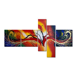 fabuart - Large Orange Abstract Painting 5 Panel - 66 x 36in - This beautiful Art is 100% hand-painted on canvas by one of our professional artists. Our experienced artists start with a blank canvas and paint each and every brushstroke by hand.
