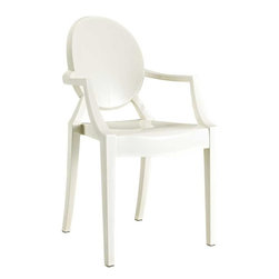 Modway - Casper Dining Armchair in White - Combine artistic endeavors into a unified vision of harmony and grace with the ethereal Casper Chair. Allow bursts of creative energy to reach every aspect of your contemporary living space as this masterpiece reinvents your surroundings. Surprisingly sturdy and durable, the Casper Chair is appropriate for any room or outdoor setting. Pure perception awaits, as shining moments of brilliance turn visual vacuums into new realms of transcendence.