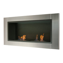 "Ignis Products - Lata Wall Mounted / Recessed Ventless Bio Ethanol Fireplace - Free up floor space and give your room a streamlined, modern look with this Lata Recessed Ventless Ethanol Fireplace. This clean-burning fireplace gives you all the heat and warmth of a traditional fireplace without the fuss and mess of a wood-burning units. It works on ethanol, so it doesn't need special lines or a chimney to give you the deliciously toasty heat you crave to knock the chill out of frosty mornings. It has a beautiful contemporary look with a stainless steel frame that is shiny and modern, and a black powder-coated backdrop that provides the perfect canvas for the 1.5-liter burners. This unit gives out a total of 12,000 BTUs of heat with two burners. Dimensions: 43.25"" x 19.75"" x 7.1"". Features: Ventless - no chimney, no gas or electric lines required. Easy or no maintenance required. Easy Installation - Can be mounted directly on the wall or recessed (mounting brackets included). Capacity: 1.5 Liter (per Burner). Approximate burn time - 5 hours per burner per refill. Approximate BTU output: ~6000 per Burner (Total BTU ~12000)."
