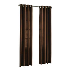 """HLC.ME - HLC.ME Pair of Faux Silk Grommet Curtain Panels, Chocolate Brown, 54"""" X 95"""" - Our luxurious Faux Silk Grommet Panels give your home a new elegant look. Each panel is 54"""" in Width and 95"""" in Length. For a full look use 2 panels to cover a standard size window (23"""" to 36"""" wide window). This picture shows two faux silk grommet panels  this package contains two (2) faux silk Grommet Panels to complete the set. Decorate every window with style and sophistication. Allows only some light to naturally flow through the room. The finishing touch for your window is a beautiful Decorative Curtain Rod (not included). All curtain sizes are approximate."""