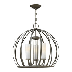 Fredrick Ramond - Fredrick Ramond FR32906BKS Renata 3 Light Chandeliers in Blacksmith - Renatas striking modern design features an outer sphere-shaped cage created from solid metal that has been flattened and tapered. The chandelier cage encompasses 5 etched opal linen glass shades while the caged pendant styles surround a unique rounded globe of etched opal linen glass.