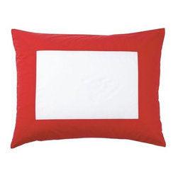 Serena & Lily - Red Color Frame Standard Sham - All the perks of classic white bedding (crisp, fresh, versatile) with just the right splash of color. The beauty of this design is that it sets the stage for a multitude of looks&151 use it as a base for more color and pattern or let it be the one bold element in an all-white bed.