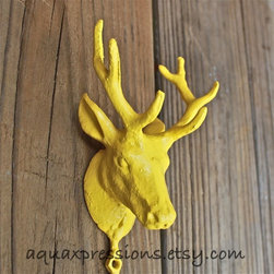 Deer Hook, Bright Yellow by Aqua Xpressions - This is such a fun alternative to a boring coat hook.
