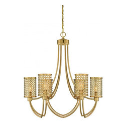Joshua Marshal - Six Light Rubbed Brass Drum Shade Chandelier - Six Light Rubbed Brass Drum Shade Chandelier