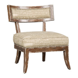 """Hooker Furniture - Decorator Chair - Accent Side Chair 17 - White glove, in-home delivery!  For this item, additional shipping fee will apply.  Fabric: Script Reverse Document  Seat height: 18"""""""