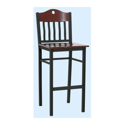 Alston - Bar Stool w Rail Back & Shape Top In Mahogany - * Textured black metal frame. Highlighted by a contrasting mahogany 10780 and back. Black metal classic. Spindle back chair with a crown top design. Perfect in the kitchen or bar area, this chair works well at home or in restaurants, bars and hotels. 17 in. W x 17 in. D x 43.25 in. H