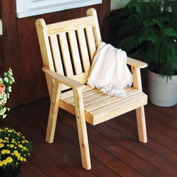A and L Furniture - A & L Furniture Yellow Pine Traditional English Dining Chair - 634-WP WHITE - Shop for Chairs and Sofas from Hayneedle.com! A perfect companion to any picnic table or other outdoor space the Traditional English Dining Chair features quality Amish craftsmanship and attention to detail. Made from all-natural untreated wood this chair has yellow zinc-plated hardware and is built to last a lifetime. About A and L Furniture:For fine-quality furniture you can't find much better than Amish-made pieces. Using hydraulic- and pneumatic-powered woodworking tools and wood hand-selected for each furniture piece Amish craftsmen pay great attention to each detail resulting in beautiful and timeless furniture. Amish woodworkers select each piece of wood for its grain and other individual characteristics and these characteristics are highlighted so that no two pieces of furniture are ever identical. Made in the heart of Pennsylvania by these dedicated workers each piece of A and L's furniture is sure to become a treasured heirloom for your family.Please note this product does not ship to Pennsylvania.