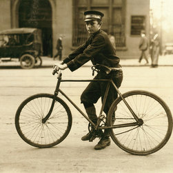 A Typical Birmingham, Alabama Messenger Print - Shot in Birmingham, Alabama by Lewis Hine in October 1914 of telegraph messenger boy on a bicycle.