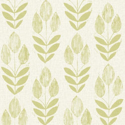 Brewster Home Fashions - Skye Light Green Block Print Tulip Wallpaper Swatch - Cultured in both Scandinavian art and design this floral wall covering of a block print tulip springs verdant beauty on walls steeped in a chic light green hue.