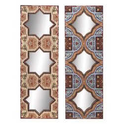 Benzara - Wood Mirror Wall Plaque Magnificent - Set of 2 - WOOD MIRROR WALL PLAOUE S/2 a set of two with mirror is an excellent anytime low priced wall decor upgrade option that is high in modern age decor fashion. The two plaques differ in their designs as well as the shape of the mirrors.