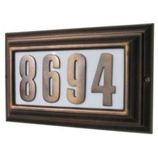 Contemporary House Numbers Edgewood Large Address Plaque, Lighted