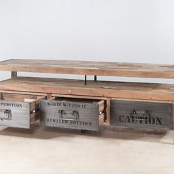 "3 Drawer TV Entertainment Console (63"" wide) - TV Entertainment console with 3 drawers (63"" wide) made from salvaged / reclaimed fishing boat wood and steel.  Modern, rustic & industrial."